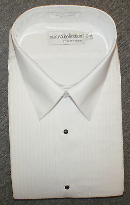 Martino Men's White Laydown Collar Tuxedo Shirt, All Sizes !
