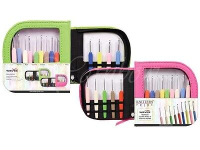 Knitter's Pride ::Waves Crochet Hook Set w/ GREEN Case:: Sizes C-J / 2.75- 6 mm