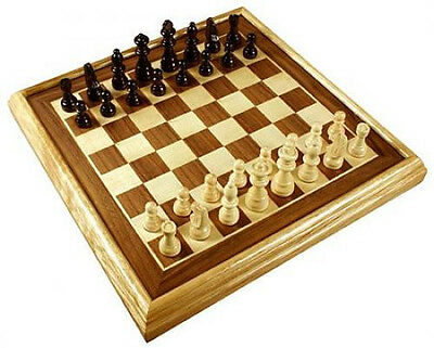"""New 16"""" Deluxe Inlaid Wood Board Games Chess Set w Pieces Free Shipping"""