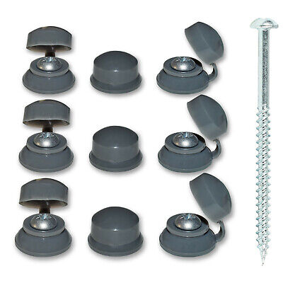 "10, 2 1/2"" (60mm) CORRUGATED ROOFING SCREWS & GREY STRAP CAPS FOR SHEET ROOFING"