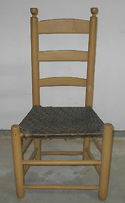 Antique Primitive Ladder Back Chair With Mustard Paint