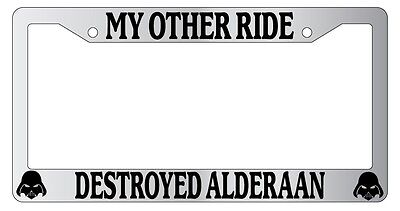 Chrome METAL License Plate Frame MY OTHER RIDE IS A//AN FRIESIAN HORSE Auto 396