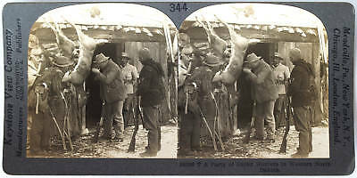 Keystone Stereoview a Hunting Party, Deer, Rifles +, MT from the 1920's 400 Set
