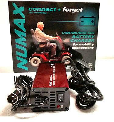 NUMAX Connect & Forget 24V 4A Battery Charger Mobility Scooters & Wheelchairs