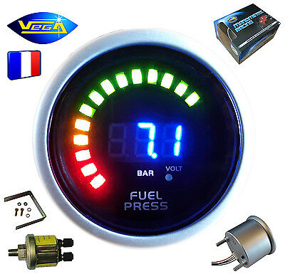 ► Manomètre Racing VEGA® 52mm Pression Essence Affichage Digital + leds 0-10bars