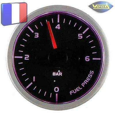 ► Manomètre Racing VEGA® 52mm Pression Essence Tactile 7 couleurs 0-6 bars ◄