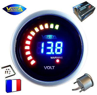 ► Manomètre Voltmètre Racing VEGA® 52mm Affichage Digital + leds 8-18V ◄
