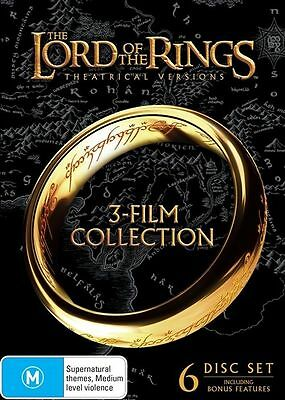 THE LORD OF THE RINGS Ring TRILOGY DVD Box Set 6 Discs R4 Theatrical Versions