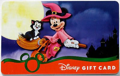 Disneyland Glow in the Dark Halloween Gift Card 2013 Minnie Mouse & Figaro MINT