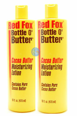 2 X RED FOX BOTTLE O' BUTTER COCOA BUTTER MOISTURIZING LOTION 16oz / 474ML