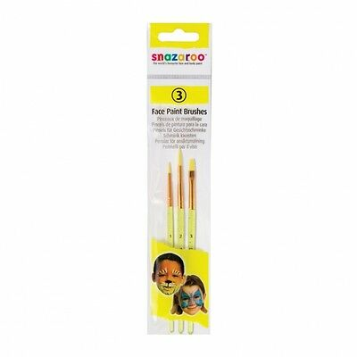 Set of 3 Snazaroo Face Paint Brushes Fancy Dress Make Up Accessory