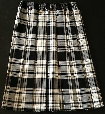 "NEW LADIES RED TARTAN CHECK FULL ELASTICATED BOX PLEAT PULL ON 26/"" LONG SKIRT"