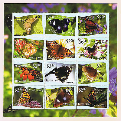 """Niuafo'ou 2012 Butterfly Definitives Stamp Sheetlet - Intact """"L"""" Variety"""