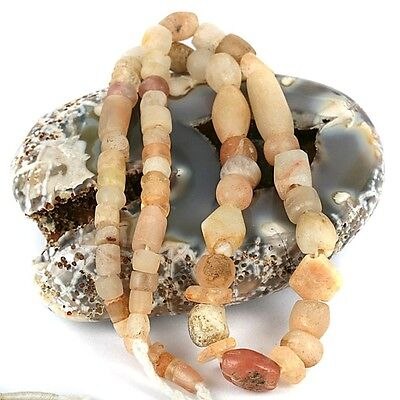 Old - Ancient Quartz Stone Bead Strand - African Trade Stone Beads