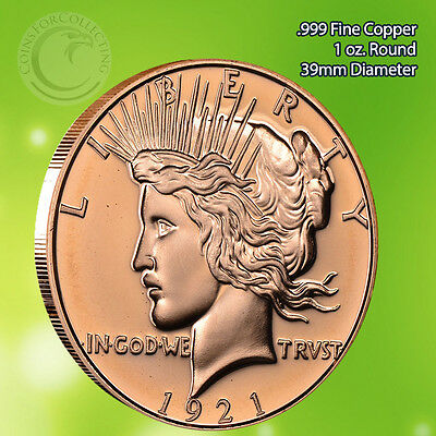 1921 Peace Dollar  #7 AVDP 1 ounce .999 Copper Round
