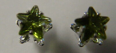 GREEN PENTACLE STAR STUD EARRINGS 925 SILVER Wicca Witch Pagan Goth PENTAGRAM