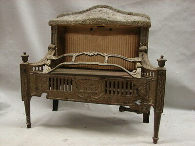 Antique Late 1800'S Cast Iron Ornate Gas Fireplace Insert Lawson No. 510