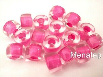 5x4mm 50 WHITE-lined CRYSTAL faceted roller large hole Czech glass beads