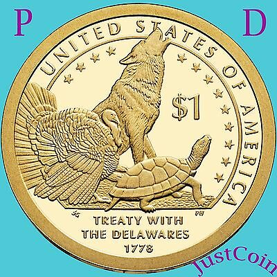 2013 Native American P&d Set Sacagawea Golden Dollar From Uncirculated Mint Roll