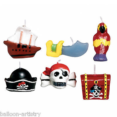 6 Pirate Treasure Mini Moulded Party Cake Candles