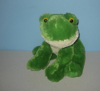 "Sitting 12"" Bright Green Pond Frog With Yellow Eyes Stuffed Plush by Aurora"