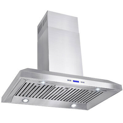 "New 36"" Kitchen Island Mount Stainless Steel Range Hood Vent w/ Baffle Filters"