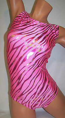FlipFlop Leos Gymnastics Leotard,  Gymnast Leotards - PINK ZEBRA