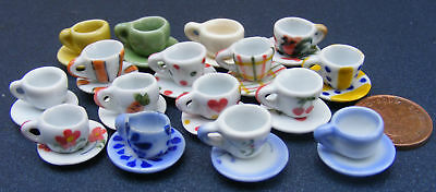 1:12 Scale 2 Ceramic Cup & Saucers Sets Dolls House Miniature Kitchen Accessory