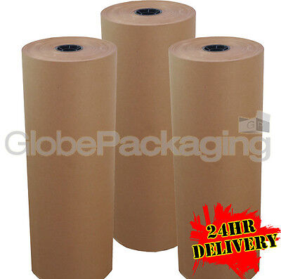 450mm x 225M x 3 HEAVY DUTY BROWN KRAFT WRAPPING PAPER ROLL 88gsm *24HR DEL*