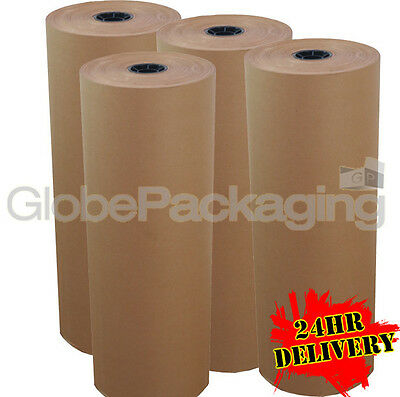 450mm x 225M x 4 HEAVY DUTY BROWN KRAFT WRAPPING PAPER ROLL 88gsm *24HR DEL*