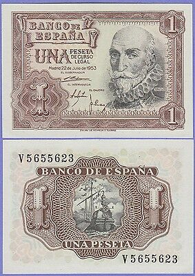 Spain 1 Peseta Banknote 22.7.1953 Uncirculated Condition Cat#144-A-5623