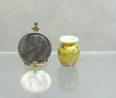 Dollhouse Miniature Opaque Whitte & Tan Glass Pattern Vase-German Hand Blown #4