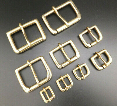 """Solid Brass 1/2"""" - 2"""" Single Roller buckle Leather craft  6 sizes"""