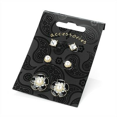 3 Pairs of Gold, Cream Pearl & Black Stud Earrings RRP £5.50 - Brand New + Tags