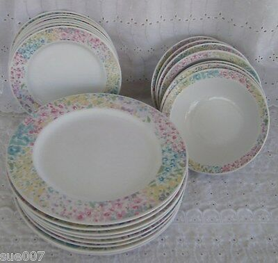22 Pcs Newcor Mirage 6137 Stoneware Thailand Dinner Salad Plates Bowls White