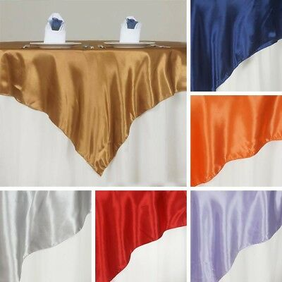 "15 SATIN SQUARE 72x72"" Table OVERLAYS Wedding Party Toppers Supplies on SALE"
