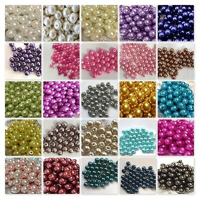 200 x 4mm / 100 x 6mm / 50 x 8mm Glass Pearl Beads - Various Colour
