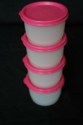 Tupperware Snack Cups 4pc Set + Liquid Tight Pink Punch Seals 4oz Crafts ++ NEW