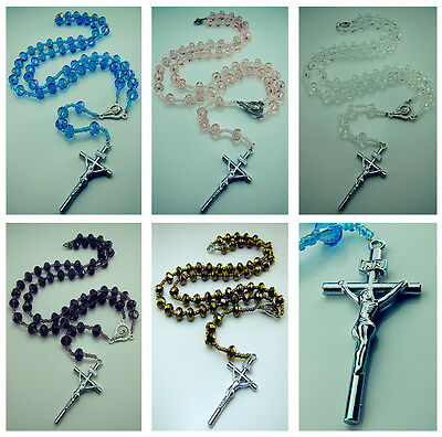 Free Rosary Faith INRI Crystal Beaded cross Pendant Clasp Necklace Many colors