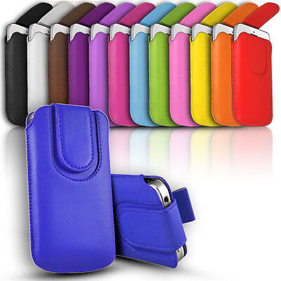 Magnet Button Premium PU Leather Pull Tab Pouch Case For Various Nokia Mobiles