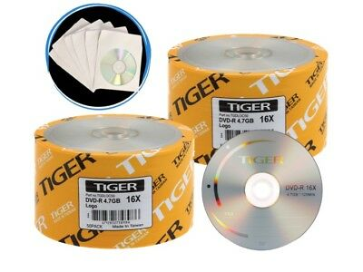 100 ct (50 ct x 2) 16X Logo Blank DVD-R Disc + 100 Paper Sleeves Free Shipping!