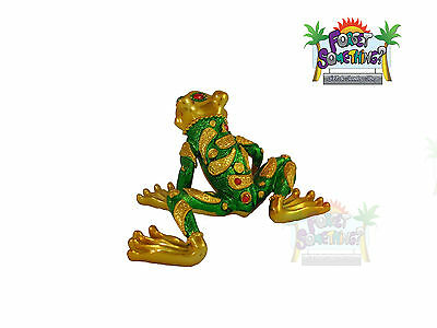 Poly Resin Statue Frog Figurine, Lucky Good Fortune Mosaic With Gems