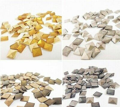 Iron on Hot Fix Metal Pyramid Flat Square Stud shoes Bags Belts Jeans Jewellery