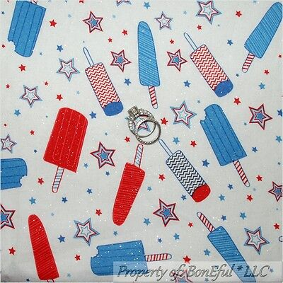 BonEful Fabric FQ Cotton Quilt Red White Blue Ice Cream Birthday America*n Star
