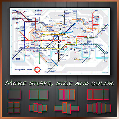 e6ff58c7182 London Tube Map Modern Abstract Framed Wall Art Deco Canvas Print ~ More  Sizes