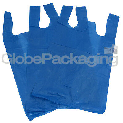"100 x BLUE PLASTIC CARRIER BAGS 11x17x21"" 16Mu *OFFER* - FAST DELIVERY"