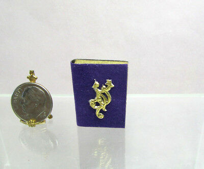 Dollhouse Miniature Purple non-opening Wood Book of Shadows #3