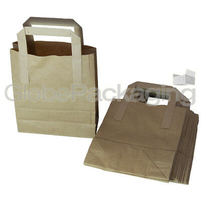 100 SMALL BROWN KRAFT PAPER CARRIER SOS BAGS 7x3.5x8.5""