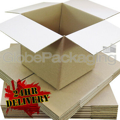 "100 x 6"" CUBE SINGLE WALL CARDBOARD BOXES 6X6X6"" 24HRS"