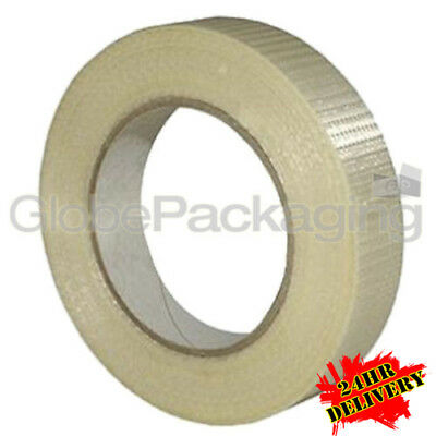 36 Rolls STRONG CROSSWEAVE REINFORCED TAPE 25mm x 50M